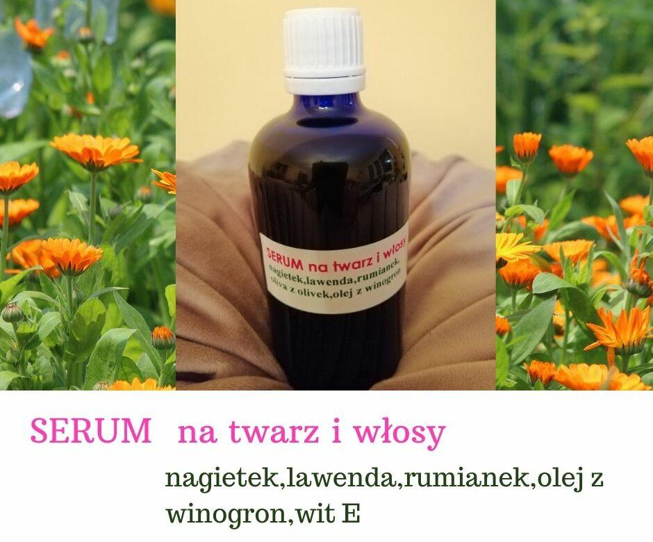 Serum ziołowe 100% naturalne do twarzy i włosów odżywcze, regenerujące